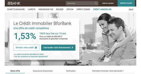 L'excellent prêt immobilier de la banque BforBank à 1,53% TAEG